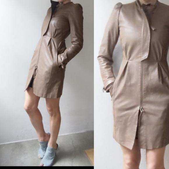 All Saints Jackets & Blazers - All Saints skinny cocoa leather dress jacket 2